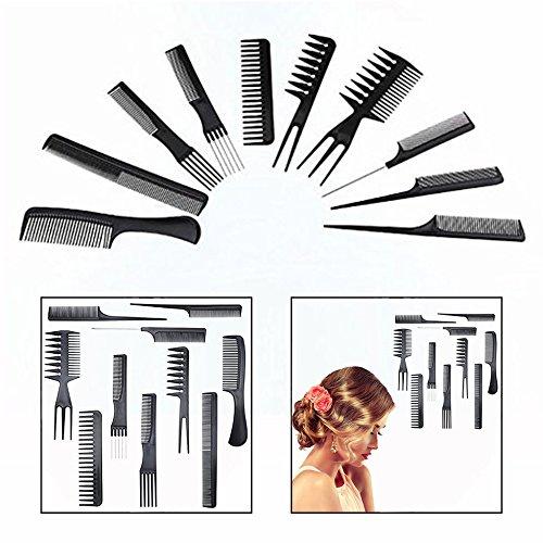 Gearmax® Set 10 Peigne Plastique Noir Antistatique pour Salon Coiffure Barbier Cheveux