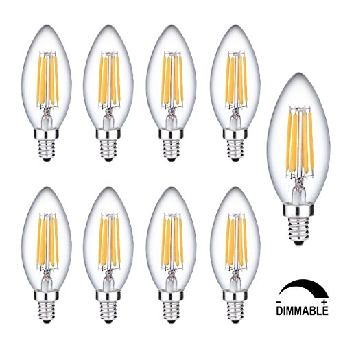 9 Pack 6W C35 Leuchtmittel Filament LED Kerze lampen Birnen 2700K Warmweiß,KINGCOO E14 Edison LED Dimmable Energy Saving Filament Lichter Candle Leuchtmittel ersetzt 60 W, Weißleuchtend Licht -