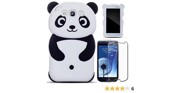 Semoss 3D Panda Étui Coque Housse En Silicone pour Samsung Galaxy S3 i9300 i9305 avec Protecteur d'écran-Noir