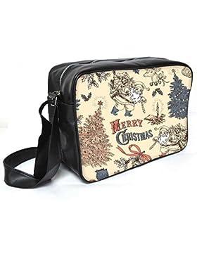 Snoogg Merry Christmas Leder Unisex Messenger Bag für College Schule täglichen Gebrauch Tasche Material PU