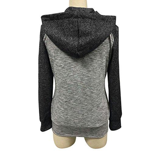HUHU833 Blouse Femmes Hiver Casual à glissière à capuche à manches longues mode Tops Sweater Tee-Shirt Noir