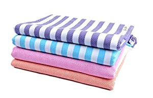 Sathiyas 480 GSM 4 Piece Bath Cotton Towel (Blue, Lavender, Pink, Orange)