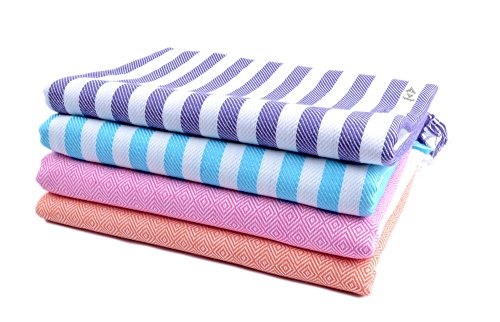 Sathiyas Cotton Bath Towel Pack of 4 (Blue, Lavender, Pink, Orange) (Lavender, Blue || Orange, Pink)