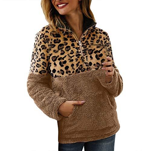 Leopard Druck Partei Dekorationen - SHE.White Plüschjacke Damen,Mode Leopard Druck Patchwork