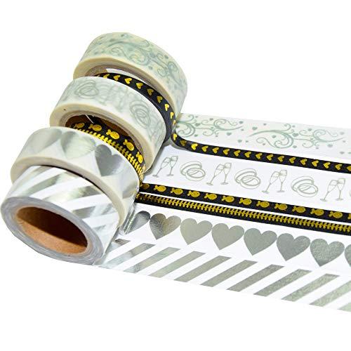 K-LIMIT 7er Set Washi Tape Dekoband Masking Tape Klebeband Washitape Scrapbooking DIY Gold Schwarz Hochzeit Wedding 9874