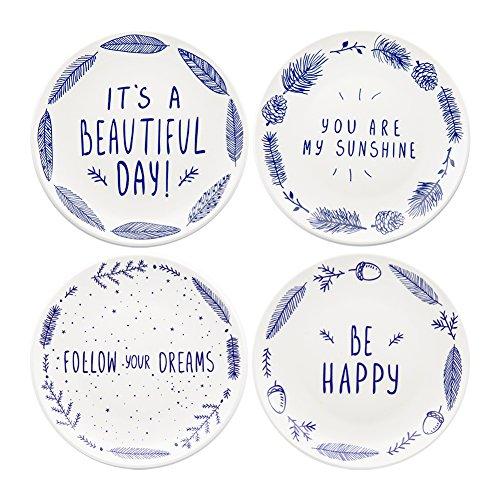 Bégonia Home 20,3cm Bleu en céramique à dessert Assiettes à salade avec proverbes (lot de 4) au lave-vaisselle et au micro-ondes, Meilleur Cadeau, Multicolore Japan China Holly