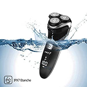 MAX-T Upgraded 3D ProSkin Wet & Dry Men's Electric Shaver, Rechargeable and Cordless Electric Razor with Pop-Up Precision Trimmer, IPX7 Waterproof Rotary Shavers, Gifts for Men, Black