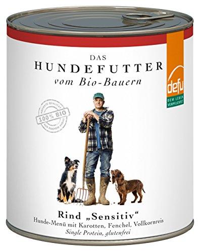 defu Bio Nassfutter für Hunde Rind 820 g Glutenfrei, 6er Pack (6 x 820 g)