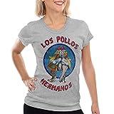 style3 Los Pollos T-Shirt Damen, Farbe:Grau meliert;Größe:L