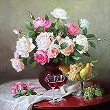 5D Diamant Gemälde Mosaik Kreuzstich Kits DIY handgefertigt Full Drill Kunstharz Diamant Stickerei Perfekte Geschenke für Home Dekoration, Flower 1, 50x50cm