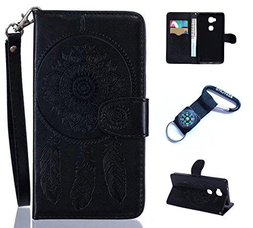 Preisvergleich Produktbild für Huawei Honor 5X Hülle Blume Premium PU Leder Schutzhülle für Huawei Honor 5X (5,5 Zoll) Bookstyle Tasche Schale PU Case mit Standfunktion+Outdoor Kompass Schlüsselanhänge) #N (3)