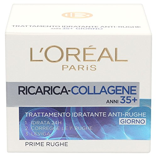 L'Oréal Paris Ricarica Attiva Anti-rughe Crema Viso Idratante Prime Rughe, 35+, 50 Ml