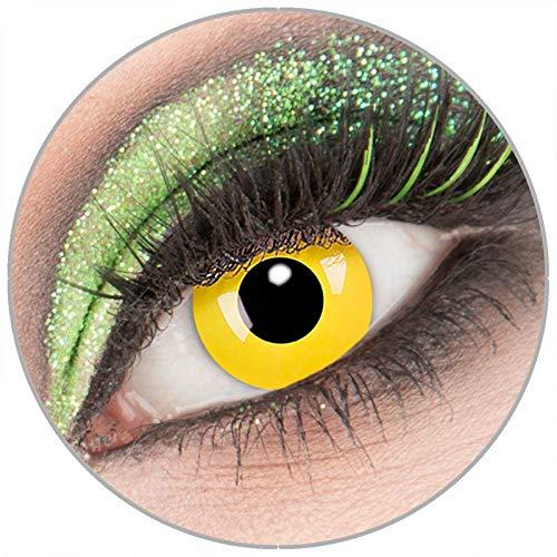 Farbige weiße \'Yellow\' Kontaktlinsen mit Stärke -4,50 1 Paar Crazy Fun Kontaktlinsen mit Behälter zu Fasching Karneval Halloween - Topqualität von \'Giftauge\'
