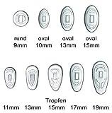 2 Paar (4 Stück) Nasenpads / Brillenpads - Silikon Klicksystem, verschie. Größen (Oval 13mm)