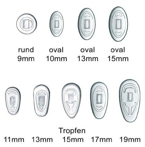 2 Paar (4 Stück) Nasenpads / Brillenpads - Silikon Klicksystem, verschie. Größen (Tropfen 15mm)