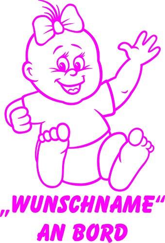 INDIGOS UG - Babyaufkleber / Kinderaufkleber 074 mit Wunschname / Wunschtext an Bord ca. 20 cm Höhe - Autoaufkleber in verschiedenen Farben