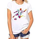 BURFLY Frauen T-Shirt Hemd Fußball Druck Kurzschluss Hülsen T-Shirt O-Ansatz beiläufige Bluse 2018 Sommer Oberseiten Damen loses weißes T-Shirt (S, A)