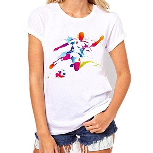 BURFLY Frauen T-Shirt Hemd Fußball Druck Kurzschluss Hülsen T-Shirt O-Ansatz beiläufige Bluse 2018 Sommer Oberseiten Damen loses weißes T-Shirt (S, A) (Neck Scoop Top Stripe)