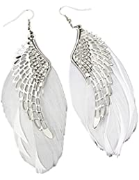 AASHYA MAYRO LATEST TRENDY LIGHTWEIGHT WHITE FEATHER & SILVER METAL WINGS HOOK EARRING