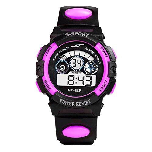 Kanpola Uhren Kanpola Erwachsene Jungen Mädchen wasserdicht Digital LED Quarz Alarm Datum Sport Armbanduhr Schlaf Tracker (Violett)