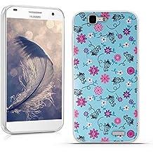 Funda Huawei Ascend G7 (L01 L03 C199) - Fubaoda - 3D Realzar, Flor colorida Patrón, Gel de Silicona TPU, Fina, Flexible, Resistente a los arañazos en su parte trasera, Amortigua los golpes, funda protectora anti-golpes para Huawei Ascend G7 (L01 L03 C199)
