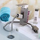 Hlluya Wasserhahn für Waschbecken Küche Alle Kupfer heiße und kalte goldenes Waschbecken Wasserhahn antiken Tisch Becken Tabelle ausziehbaren Wasserhahn ziehen