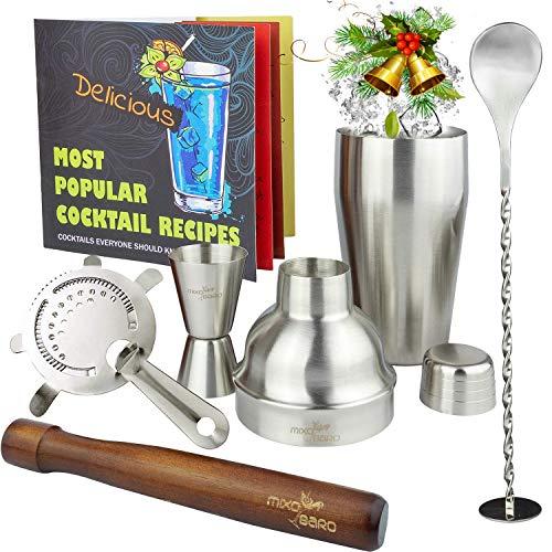 mixobaro Profi Manhattan Cocktail Set–Edelstahl Cocktail-Shaker mit Starter Rezept Buch und Cocktails Maker Zubehör–Classic helfen Metall silber Mixer in einem Geschenk-Box