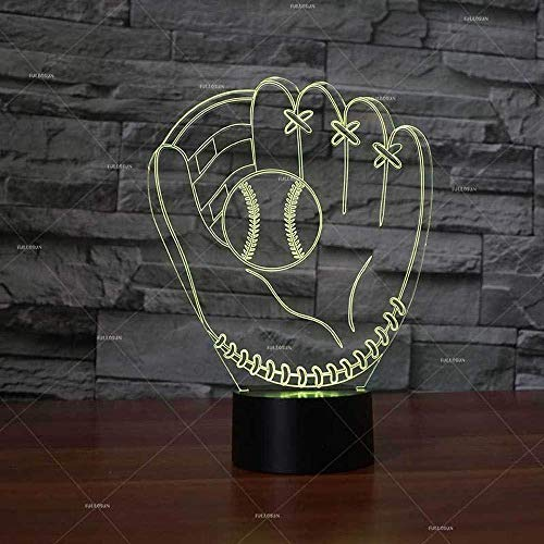 3D Optical Illusion Lamp Night Light Led Baseball Glove Kids Mood Light Table Lamp Touch Switch Colors Change Birthday Gift