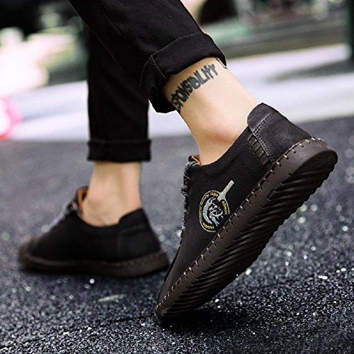 JOYTO Chaussures de Ville à Lacets Pour Homme Cuir Casual Suédine Classiques Élégantes Oxford Noir Marron Kaki 38-46 Noir