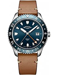 Rotary Mens Henley GMT Brown Leather Blue dial GS05108/05