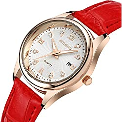Ladies leather strap watch/Waterproof quartz watches/Simple casual female form-A