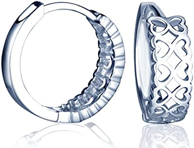 yumilok Jewelry–Pendientes de plata de ley 925plata infinito Corazón aros Creole pendientes de gota para las mujeres/señoras/niñas, hipoalergénico