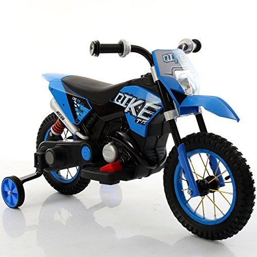 Motorrad Kinder Elektro Motorrad blau Cross Elektrische Spielzeug für Kinder mit Rollen aus Gummi