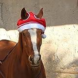 Pferde Winter Weihnachtsmütze rot mit Glitzer One Size