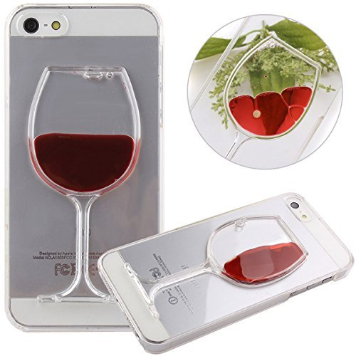 iPhone SE Fall, iPhone 5S Fall, iPhone 5 Fall, iphone 5s Liquid Case, iPhone SE Liquid Case, Nsstar Creative Design Flüssigkeit Schwimmende Delfine Hard Fall für Apple iPhone SE 2016 & iPhone 5S 5, Kunststoff, Red Wine Glass, Apple iPhone SE 2016 & iPhone 5S 5 - 5s Fälle Otterbox Iphone