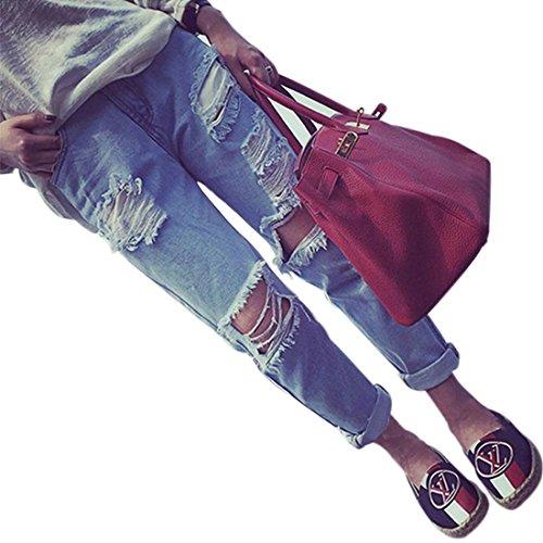 Löcher Jeans, Brawdress Hosen Damen Gerissen Denim Boyfriend Stil Hose (M, Blau)
