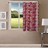 Queenzliving Elements Curtain, Window 5 feet- Pack of 1, Red