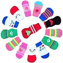 hunpta Fashion 4piezas cute puppy perros mascotas tejer calcetines anti slip Skid Bottom (no ofrecemos la elección de color y estilo, enviaremos el producto al azar & # xFF0C; Esperanza puedes entender)