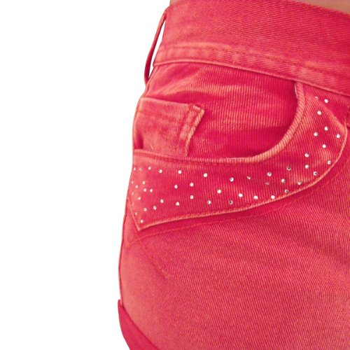 Damen Sexy Denim Hotpants Strass Shorts Hose Damen Bling Shorts Größe 8-14 Rot