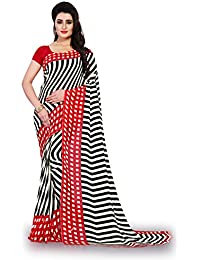 Kashvi Sarees Faux Georgette Printed Red Color With Blouse Piece ( 1439)