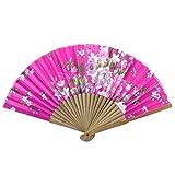 Sourcingmap - Amarillento costillas de bambú patrón de flor fucsia ventilador de la mano plegable