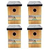 4 x Handy Home and Garden Druckbehandelter Hölzerner Wildvogelhaus-Standardholz-Nistkasten HHGBF017 - Natürliche Vogelnistkästen