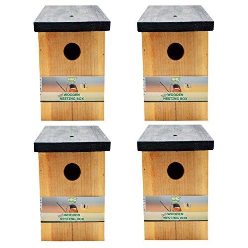 Handy Home and Garden 4 x Caja Nido de Madera con Madera...