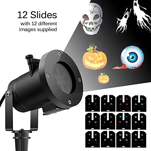 Fastar Proyector LED Lámpara impermeable de movimiento con 12 toboganes reemplazables,Luz Decorativa en Interior o en Exterior para el partido, Halloween, Navidad