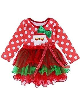 ARAUS Vestido Ninos de Navidad Blanco Punto con Encaje Princesa Fancy Costume