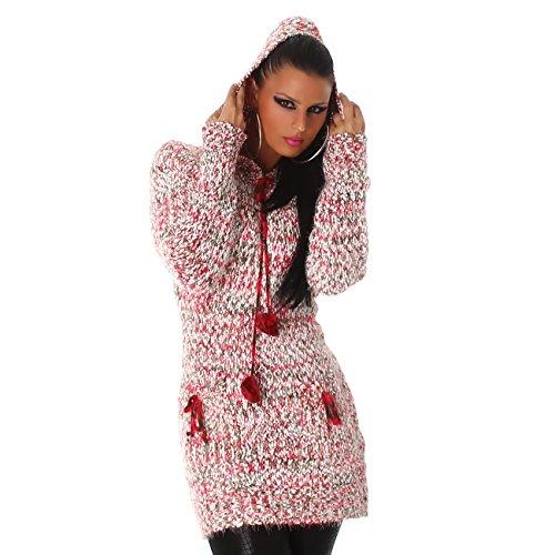 Jela London Damen kuscheliger Strick-Pulli Pullover Strickkleid Minikleid Kapuze - Pink , Onesize (34-40)