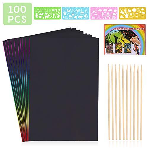 HellDoler Kratzbilder für Kinder,Kratzpapier Kinder 100 Blätter Regenbogen Kratzpapier zum Zeichnen und Basteln mit Schablonen, Holzstiften (100PCS)