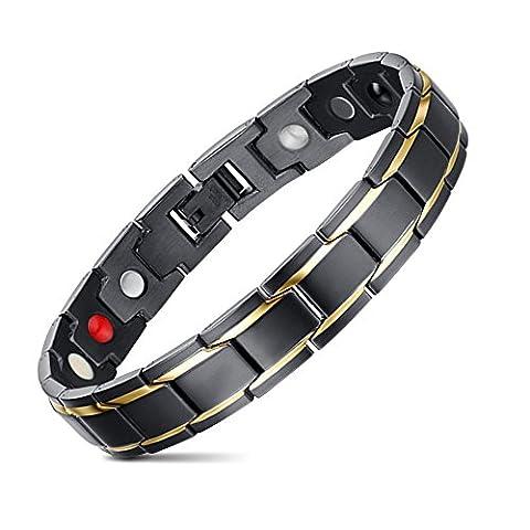 Bracelet en Acier Inoxydable Plaqué or 18 Carats +Outil Ajustable,Noir∨ 21cm JFUME