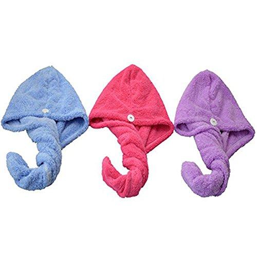 Frcolor Cheveux Séchage Casquette pour femme, doux Douche Serviette pour cheveux Twist Cheveux Turban Wrap, Lot de 3, Bleu, Violet, Rose rouge