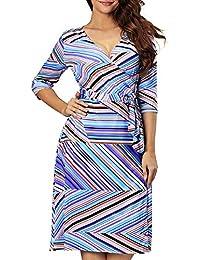 33a53035fb7 Aofur UK Plus Size 8-24 Womens Casual Summer Dresses V Neck Warp Striped  Skater
